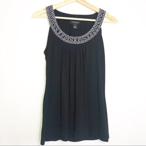 🛍 WHBM Black Sleeveless Embriodered Collar Top S
